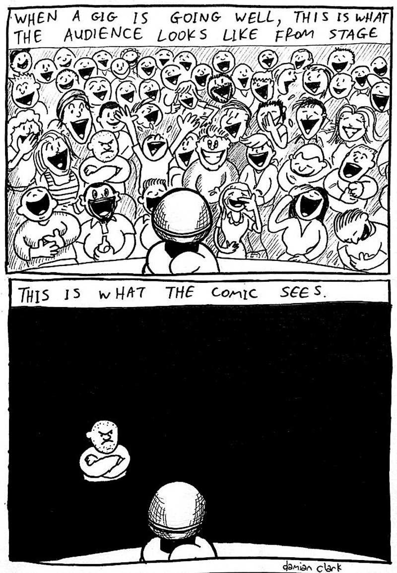 Cartoon comedian audience